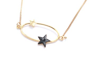 Black enamel gold plated Star necklace