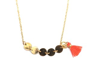 Gold plated coins coral tassel necklace