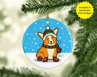 Corgi Ornament - Available in Pembroke and Cardigan Corgis - Frapping Through the Snow