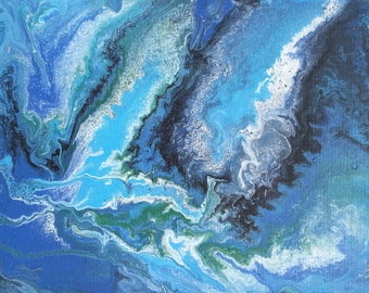 Paint Pouring, Acrylic painting, Abstract art, blues