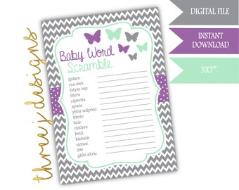 Butterfly Baby Shower Word Scramble Game - INSTANT DOWNLOAD - Gray, Lavender and Mint - Digital File - J005