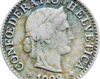 1908 5 Rappen Switzerland Coin