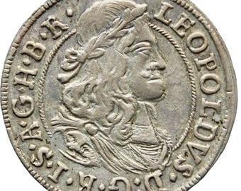 1671 3 Kreuzer Tirol Hall Austria Habsburg Leopold I Holy Roman Emperor