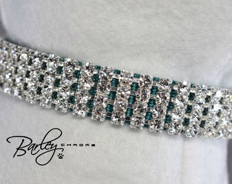 "Teal Elegance Rhinstone Dog Cat Pet Collar - 4 Row Preciosa® Crystal 5/8"" Wide 12"" 14"" 16"""