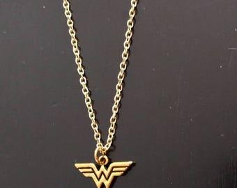 Gold Wonder Woman Emblem Necklace