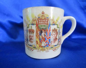 Vintage Bone China Mug King George V & H M Queen Mary Silver Jubilee