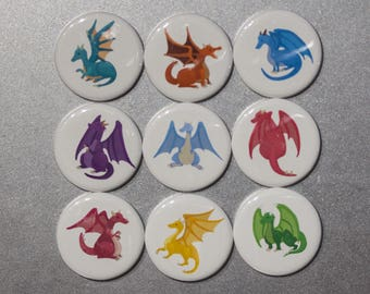 Dragons! Oh my! Pick your Herd! Strong Ceramic Magnets Or Pinback Buttions for Dragon Lovers!