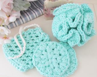 Crochet Spa Set, Bath Pouf, Facial Scrubbies, Soap Saver, Handmade, Crochet Gift Set, Aqua Bath Set, Crochet Pouf, Crochet Soap Bag