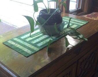 Green table runner, batik table runner, striped table runner, quilted table runner, hand quilted table runner