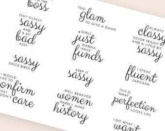 sassy stickers, script stickers, adulted planner stickers, word calligraphy stickers eclp filofax happy planner kikkik classy stickers