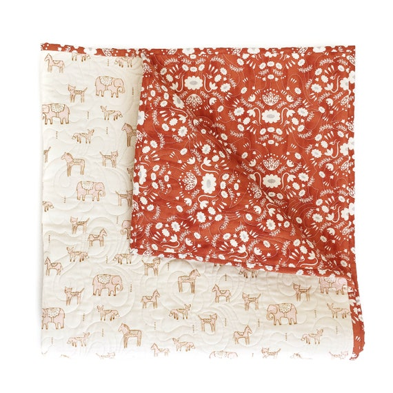 Wholecloth Quilt - Flower Shop in Rust - READY-to-SHIP