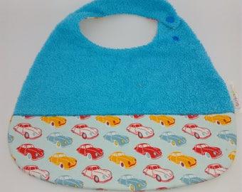 Blue car sponge boy bib
