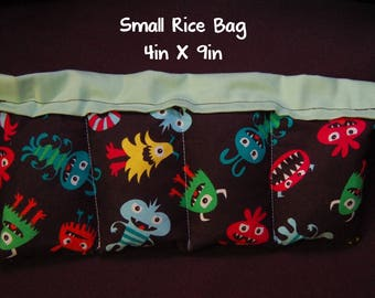 Booboo Rice Bag; Monsters Multicolor; Go Away Germs; Medium 6 x 10; Heat Or Cold Therapy; Freezable; Boo Boo Rice Bag; Natural Headache help