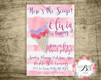 Ice Cream Birthday Party Invitation with thank you card