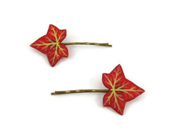 Lot de 2 barrettes fantaisie feuilles de lierre rouges pourpres, pinces à cheveux nature, épingles à cheveux en plastique peint (CD recyclé)