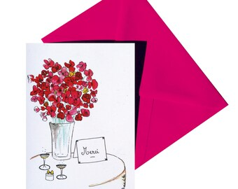 Fuchsia envelope folded thank you card.