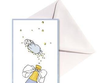 Carte pliée Bébé bleu au champagne, enveloppe blanche.