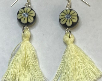 Polymer clay and tassle yellow flower earrings