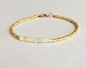 Opal Bracelet with Sterling Silver bead plated with 24k Gold, Opal Bracelet Gold, Opal Bracelet October, October Birthstone, Opal, GGBB10