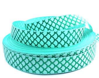 Mermaid Ribbon, Mermaid Grosgrain, Mermaid Print Ribbon, Mermaid Theme Ribbon, Mermaid Items, Mermaid Craft, Green Ribbon, Aqua Ribbon