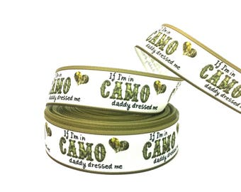 Camo ribbon, Camo grosgrain, Camouflage ribbon, camouflage grosgrain, camo baby ribbon, green camo ribbon,camo heart ribbon,camo girl ribbon