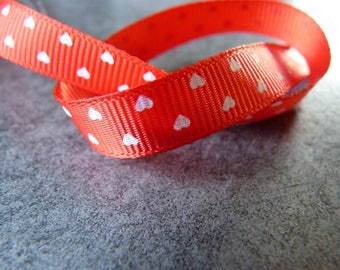 Red grosgrain Ribbon with white hearts 0.90 x 82 cm