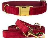 Dog collar SANTA BABY with gold colored hardware - handmade from soft dark red faux leather - matching leash available