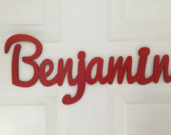 Red Cut Out Wooden Name Sign (PRICE PER LETTER)