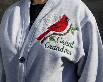 Great Grandma Cardinal Custom Embroidered Sweatshirt Cardigan - Text Of Your Choice