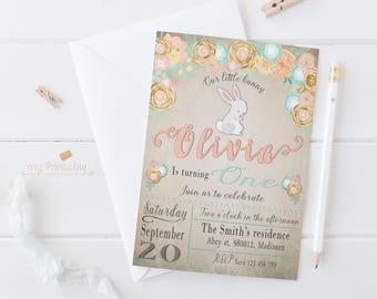 Bunny Birthday Invitation / Digital Printable Invite for Kids / Easter first birthday Party / DIY 1st