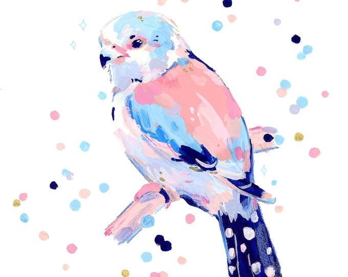 Pygmy Falcon Confetti -- Hand Embellished Art Print