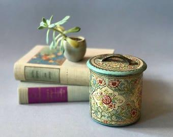 Vintage Dutch Tin - Embossed Floral Enamel Tin - Made in Holland