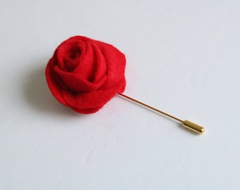 Mens Felt Lapel Flower-Blue-lapel pin-boutonniere-mens gift-cooper lapel flower pin-wedding boutonniere