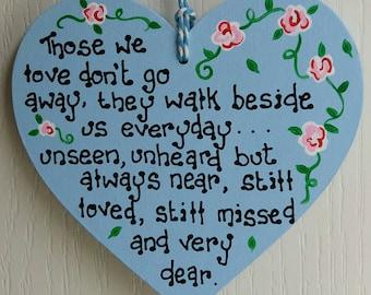 Lost loved ones plaque, Memorial plaque, Missing loved ones, In memory of loved ones, In loving memory, Bereavement sign