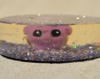 Large Purple Elephant Paperweight, Resin Desk Accessory