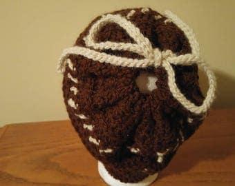 Wrap-neck/Alpaca - adult size Large Hat - crochet - with 2 tassels