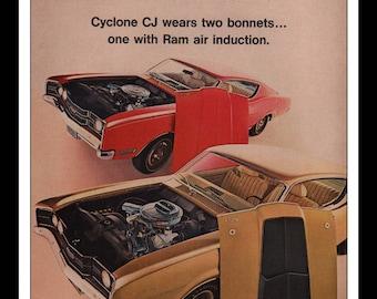 "Vintage Print Ad 1960s : Ford Mercury Cyclone CJ Automobile Car Wall Art Decor 8.5"" x 11"" each Advertisement"