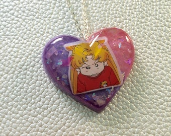 Sailor Moon Heart Necklace - Pink and Purple #2