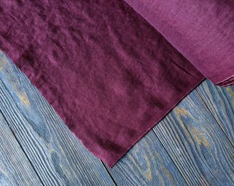 Softened boysenberry linen fabric by the meter, natural purple linen fabric, plum washed stonewashed linen fabric by the yard 7oz 200GSM