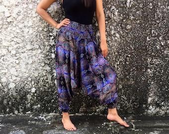 Jumpsuit Harem pants Drop Crotch Paisley Floral Print fabric Gypsy Style Hippie fashion Summer festival Plus Size women men Clothing in blue