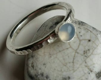 Silver Stacking Ring with 4mm Round Grey Moonstone  Size 4.5 (I) - Postage Included