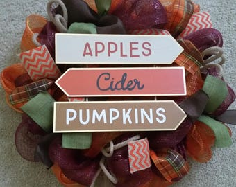 Fall wreath, Thanksgiving wreath, Fall decor, Thanksgiving decor, Fall Sign, Front Door Wreath, Mesh wreath, Orange, Burgundy, Fall
