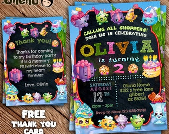 SALE SHOPKINS Birthday Invitation - Printable - Shopkins Theme - Shopkind Birthday Party Favor - for Girl and Boy - Celebration - Customize