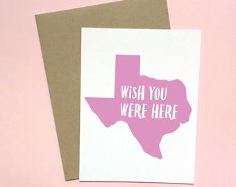 Texas Card, Thinking of You Card, Wish You Were Here Card, Missing You Card, Friendship Card, Largest State Card, Texas Care Package