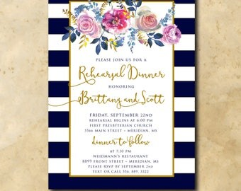 Beautiful Rehearsal Dinner Invitation with Watercolor Art/DIGITAL FILE/wording can be change