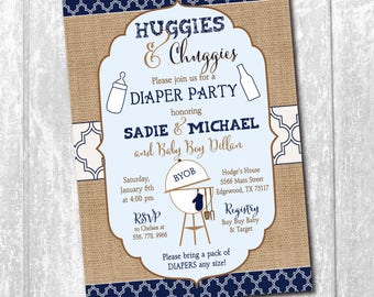Diaper Party Shower Invitation printable/Digital File/Huggies and Chuggies, Couples Baby Shower, boy shower/Wording & Colors can be changed