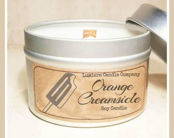 ORANGE CREAMSICLE scented Soy Candle Tin, Scented Soy Candles, Hand Poured Soy Candles, Soy Candles Handmade, Travel Tin