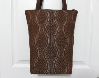 Quilted Brown Tote Bag, Zipper Tote, Quilted Bag