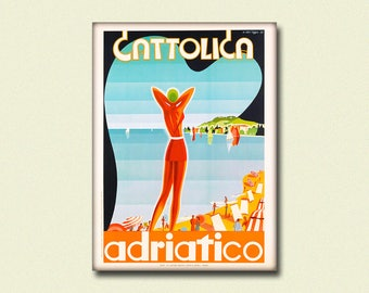BUY 2 GET 1 FREE Italy Travel Print - Cattolica Poster Rimini Poster Travel Poster Italian Prints Italy Poster Adriatic Poster Gift Idea
