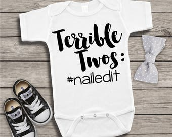 Terrible Twos Nailed It #nailedit Funny Children's Bodysuit Creeper T-Shirt for Baby Boy Toddler Kid 2nd Gift Idea Present Birthday Humor